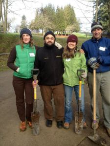 NWEI staffers Amanda Green, Rob Nathan, Liz Zavodsky and Mike Mercer get ready to volunteer on MLK Jr. Day