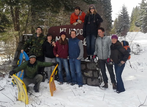 NWEI Staff, friends and family members enjoy snow and sledding near Mount Hood in Parkdale, Oregon last week