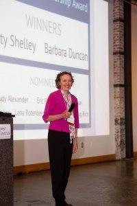 Barbara Duncan receives a Founders Earth Leadership Award at the May 16th 20th Anniversary Celebration